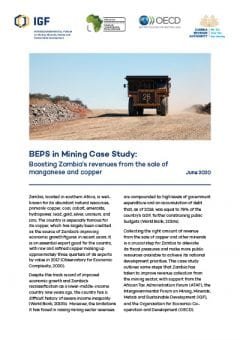 Cover of BEPS in Mining Case Study: Boosting Zambia's revenues from the sale of manganese and copper