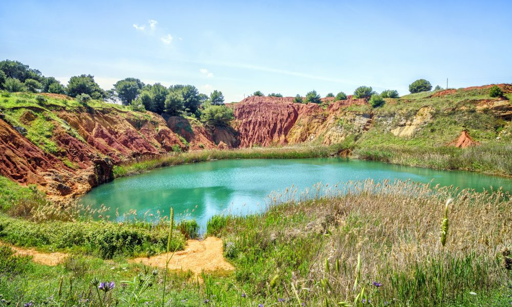 Bauxite Quarry Lake in Otranto, Apulia, Italy