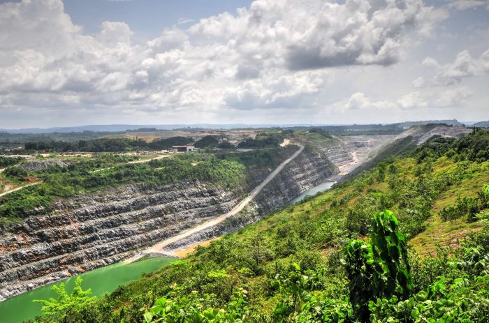 Open Pit Gold Mine in Ghana, Africa with a view of the cut out earth.